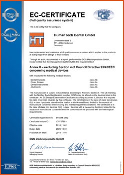 HumanTech Dental CE-Zertifikat (en)