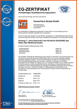 HumanTech Dental CE-Zertifikat (de)